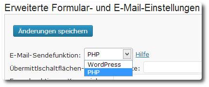 E-Mail-Sendefunkion umstellen
