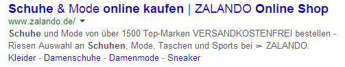 Optimierte Meta-Description von Zalando