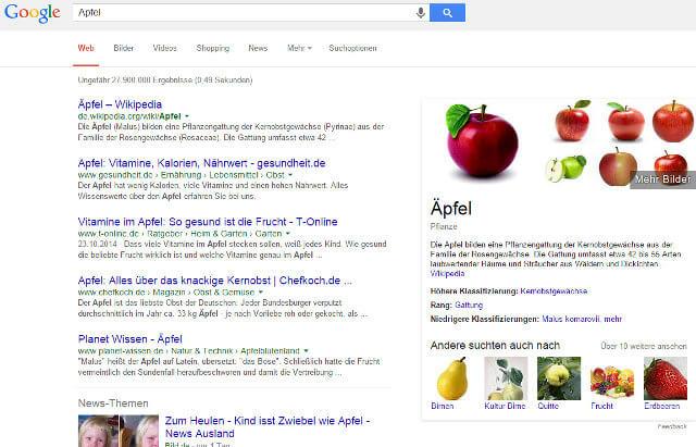 Suche nach Apfel mit Knowledge Graph Box