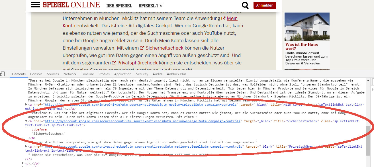 Google Advertorial mit follow Link