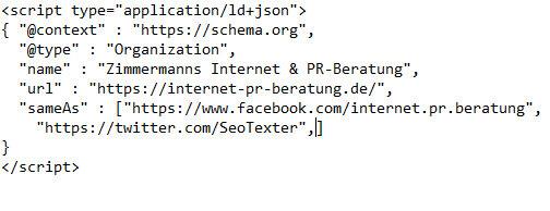 Fehlerhafter JSON-LD-Code