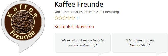 Kaffee Freunde Skill Amazon