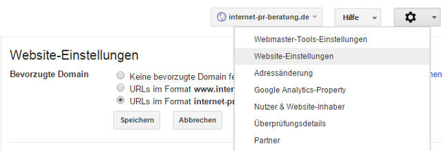 Seitenversion in Google Webmaster Tools festlegen