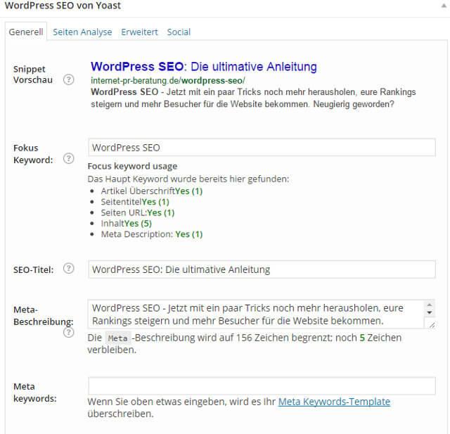 Snippet Vorschau mit dem WordPress SEO Plugin.