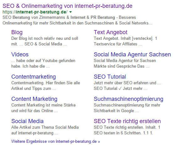 Suchergebnis mit Sitelinks