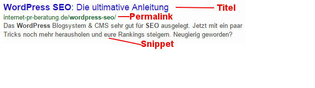 Wordpress SEO Ergebnis Snippet