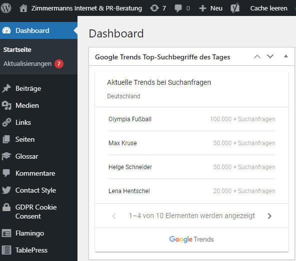 Google Trends Suchbegriff-Charts im WordPress Dashboard