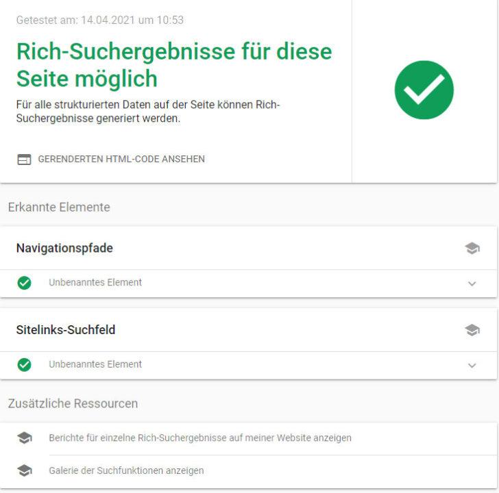 Rich-Suchergebnisse möglich