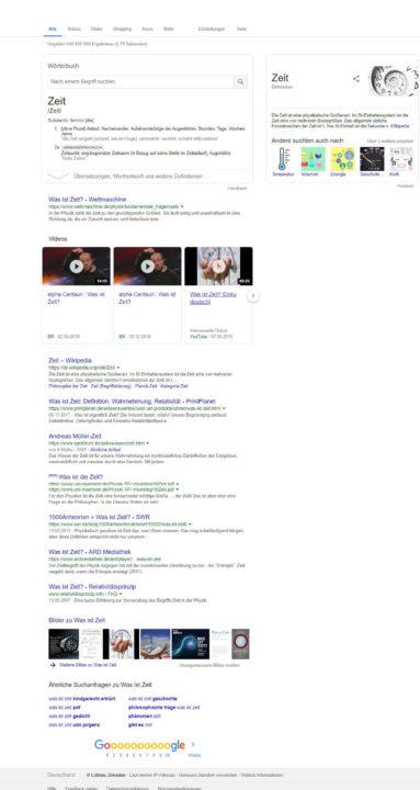 SERP Screenshot für eine Informationssuche
