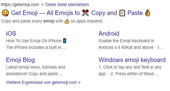 Mehr Aufmerksamkeit zum Snippet durch Meta-Description und Emojis, ein Snippet aus Google von getemoji.com
