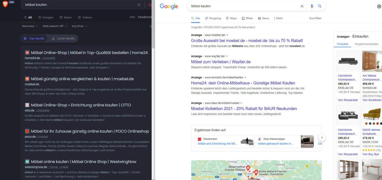 Suchergebnisvergleich Brave Google